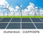 solar panels and wind turbines  ... | Shutterstock . vector #1164943696