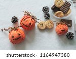 halloween themed snacks of... | Shutterstock . vector #1164947380