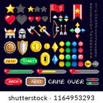 colorful set of pixel icons for ... | Shutterstock . vector #1164953293