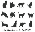 Stock vector sets of silhouette cats icon set in various actions create by vector 116495359