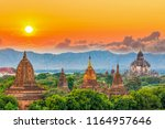 ancient temple in bagan after... | Shutterstock . vector #1164957646