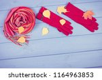 vintage photo  woolen gloves... | Shutterstock . vector #1164963853