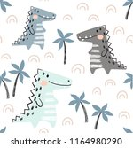 crocodile baby seamless pattern.... | Shutterstock .eps vector #1164980290