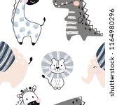 lion  giraffe  elephant ... | Shutterstock .eps vector #1164980296