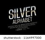 vector chic silver font.... | Shutterstock .eps vector #1164997000