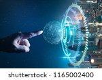 man touching abstract global... | Shutterstock . vector #1165002400