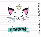 Stock vector funny cat and lettering dreams on a white background 1165009636