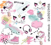 unicorn  cat  girl items and...   Shutterstock .eps vector #1165015456