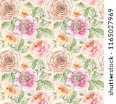 watercolor and ink floral... | Shutterstock . vector #1165027969
