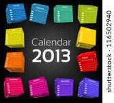 3d cube calendar 2013 | Shutterstock .eps vector #116502940