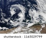 Small photo of Hurricane Florence cyclone view from space, from above, the sky. Florence USA. Typhoon Mangkhut. Elements of this image are furnished by Nasa.