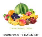 set of various fresh fruits... | Shutterstock .eps vector #1165032739