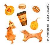 watercolor autumn nature... | Shutterstock . vector #1165036060
