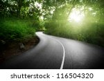 Empty Road In Jungle Of...