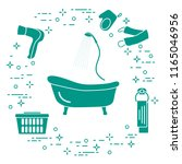 bathroom elements  bath  shower ... | Shutterstock .eps vector #1165046956