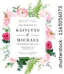Square floral vector design frame. Pink ranunculus, red rose, white hydrangea flowers, eucalyptus, forest fern, greenery. Wedding elegant card. All elements are isolated and editable