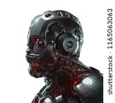 head of cyborg with red... | Shutterstock . vector #1165063063