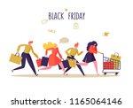 black friday sale event. flat... | Shutterstock .eps vector #1165064146