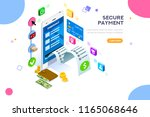 financial transaction  mobile... | Shutterstock .eps vector #1165068646