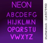 neon font set night alphabet on ... | Shutterstock .eps vector #1165075900
