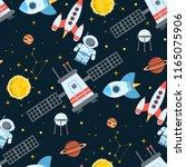 rocket space globe solar system ... | Shutterstock .eps vector #1165075906
