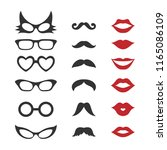 photo booth props for weddings  ... | Shutterstock .eps vector #1165086109