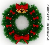 3d christmas wreath with red... | Shutterstock . vector #116508850