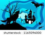 silhouette wolf with castle and ... | Shutterstock .eps vector #1165096000