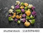 Colorful Cauliflowers On Grey...