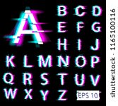 glitch english alphabet.... | Shutterstock .eps vector #1165100116