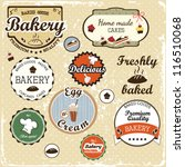 collection of  food labels ... | Shutterstock .eps vector #116510068