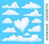 set of clouds isolated on blue... | Shutterstock . vector #1165106716