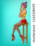 vector pop art girl is sitting... | Shutterstock .eps vector #1165108459