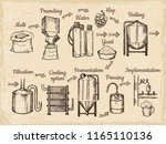 beer production steps. hand... | Shutterstock .eps vector #1165110136