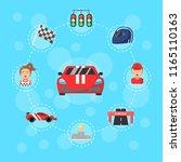 vector flat car racing icons... | Shutterstock .eps vector #1165110163
