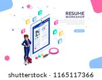 web page  banner for resume... | Shutterstock . vector #1165117366