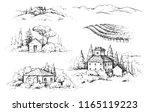 hand drawn fragments of rural... | Shutterstock .eps vector #1165119223