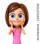 the girl in the pink dress she... | Shutterstock . vector #1165127656