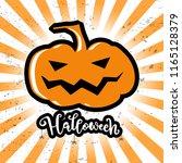 hallowen card with big plumpkin ... | Shutterstock .eps vector #1165128379
