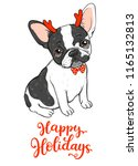 happy holidays card with cute... | Shutterstock .eps vector #1165132813