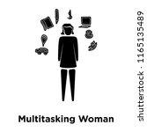 multitasking woman icon vector... | Shutterstock .eps vector #1165135489