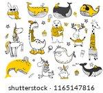 vector set of cute doodle... | Shutterstock .eps vector #1165147816