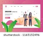 couple teen go to school.... | Shutterstock .eps vector #1165152496