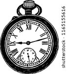 vector image of old pocket watch | Shutterstock .eps vector #1165155616
