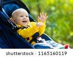 baby in stroller on a walk in... | Shutterstock . vector #1165160119