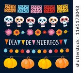 Stock vector set of dia de los muertos mexican day of the dead garlands with lights bunting flags ornamental 1165173043