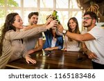 group of friends hanging out... | Shutterstock . vector #1165183486