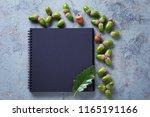 notebook and acorns on grey... | Shutterstock . vector #1165191166