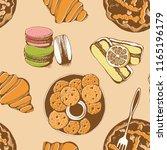 bakery  sweet pastry vector... | Shutterstock .eps vector #1165196179