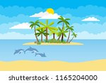island with palm trees in the... | Shutterstock .eps vector #1165204000
